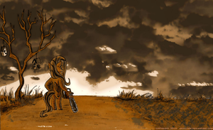 fluttershy and her chainsaw by Skull-Ink
