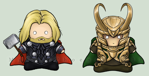 Thor and Loki by MythicPhoenix