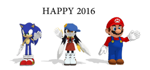 Happy 2016 with Mario, Klonoa and Sonic by MarcosPower1996