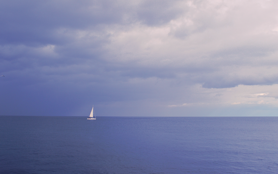 A seagull, a boat and the sea by Gimmy89
