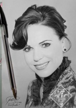 Lana Parrilla Portrait/Retrato Black pen/Boli negr by IrtyBarber