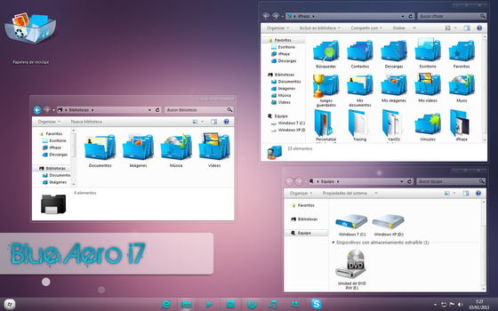 Blue Aero 7 IconPack Installer by 2JDesign