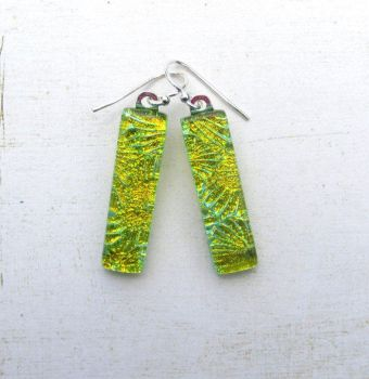 Green and Gold Fused Glass Earrings by FusedElegance