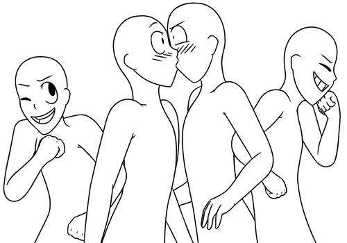 how to draw a person kissing