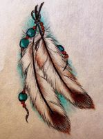 Bead/Feather Tattoo Design by Madeline-Cornish
