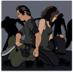 Shadowbox Mockup:  Walking Dead Glenn and Maggie by The-Paper-Pony