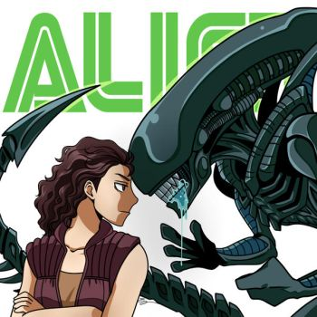 Alien: Ripley VS Xenomorph by Evelynism