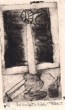The Scribe's Table - Etching by LitTechGirl
