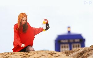 Amy Pond and Mr Flibble by P2Pproductions