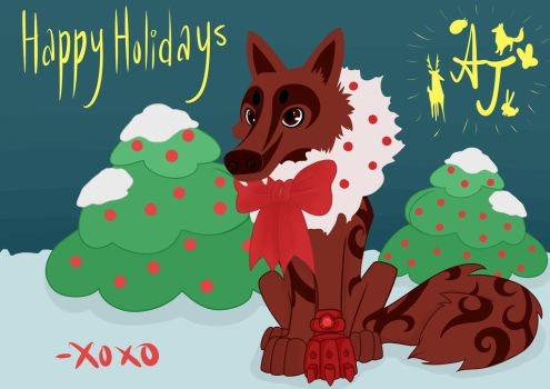Animal Jam Holidays Wolf by theoneandonle