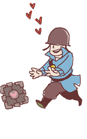 companion cube and soldier by togaco
