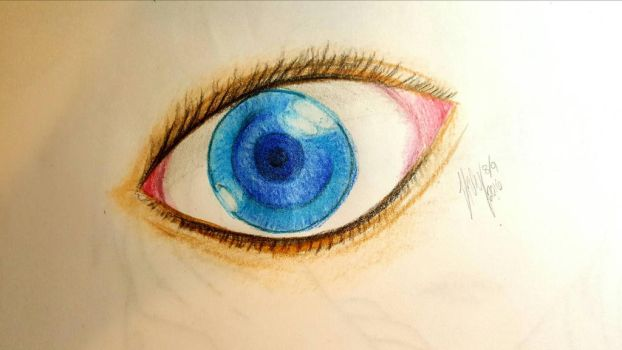 Realistic (Blue) Eye [Attempt w/ Colored Pencils]  by oceangirl001