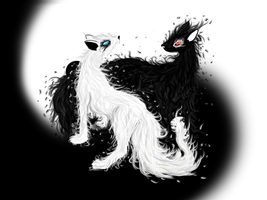 Yin and Yang Elemental Foxes by kristhasirah
