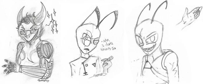 Sketch Dump - Cheese Father Ft. 2 Irkens by EyonSplicer