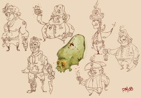 pirates and a map NO COLOR by SomethingEveryDay