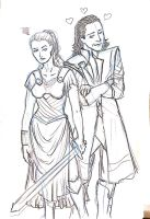 Doodle of the day: Sigyn  Loki by Cris-Nicola