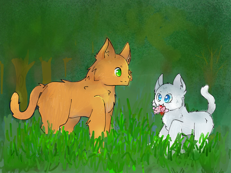 Fireheart and Cloudpaw - hunting by PinkFlutter
