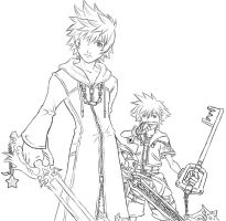 Roxas and Sora Lineart by AIBryce