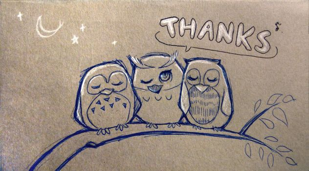An Owl Says Thanks by MiraMonochrome