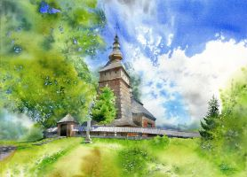 Wooden church from Kotan by GreeGW