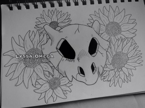 Cubone skull with sunflowers TATTOO COMMISSION by LyssaOmega