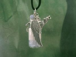 White Wolf Celestial Angel Spirit Pendant Necklace by DaybreaksDawn