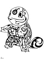 #007: Tribal Squirtle by blackbutterfly006