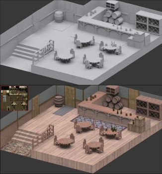 Suikoden II, Leona's Tavern 3D by tribalise