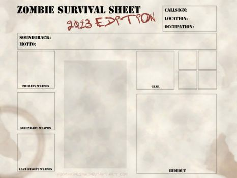 Zombie Survival Sheet - 2013 edition by kodiakdesign