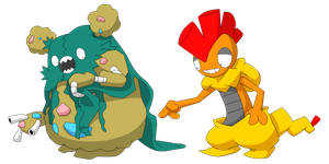 Garbodor and Scrafty