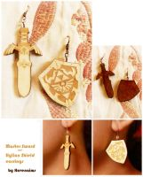 Wooden Master Sword and Hylian Shield Earrings by Havenaims