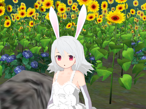 MMD Cute Pink and white bunny ears by amiamy111
