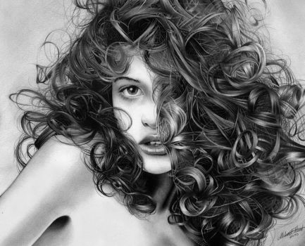 Playful curls - Pencil drawing by Regius