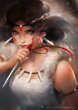 Princess Mononoke (Prints for sale) by sakimichan