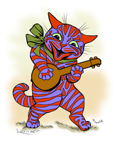 Louis Wain Tribute - Cat playing a lute by thredith