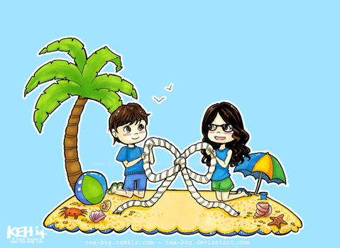 Commission: Beach Save the Date by tea-bug