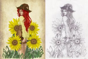 Sunflowers by Dracoria18