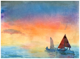 Watercolor: Sailboat by LOOMcomics