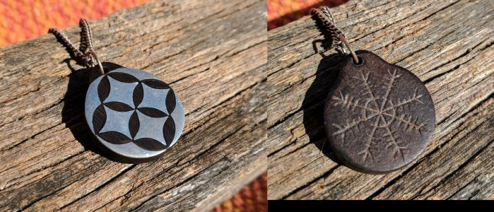 Silver, Ebony and Leather pendant by Crimzen250