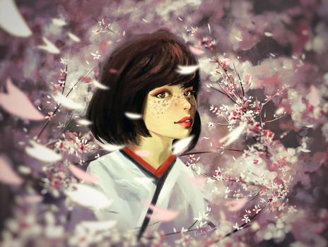 Cherry blossom freckles by Guava-Pie