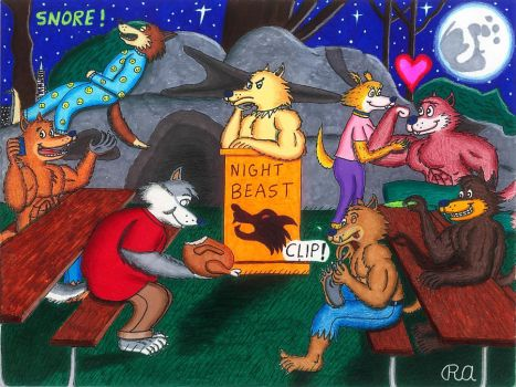 Serious Werewolf Pack in San Francisco by WalterRingtail
