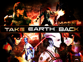 Shepard and Liara: Taking Earth Wallpaper by suicidebyinsecticide