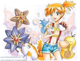 Copic Marker Misty and her Pokemon Team