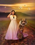 Tigers and Lanterns at Sunset by xyldrae
