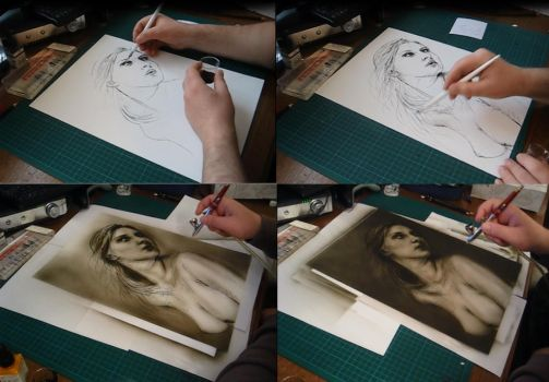 Step by Step Ink to Airbrush by KayIglerART