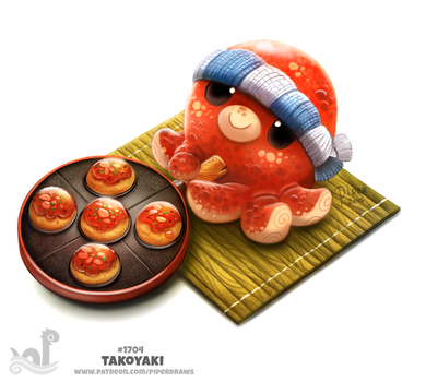 Daily Painting 1704# Takoyaki by Cryptid-Creations