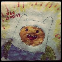 Napkin Art #66 - Finn the Human - Adventure Time by PeterParkerPA
