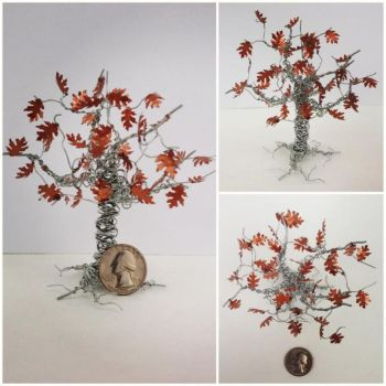Tiny wire tree, copper leaves by etodorut