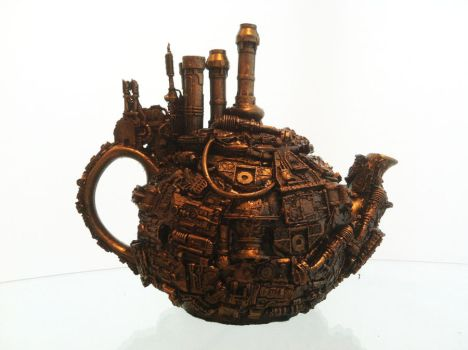 steampunk tea pot by richardsymonsart