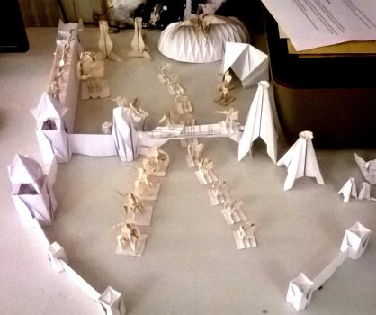 Origami castle with army 1 by WilliamClinch